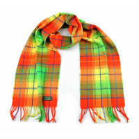 Glencroft - 100% Cashmere Bright Green and Orange Plaid Stole