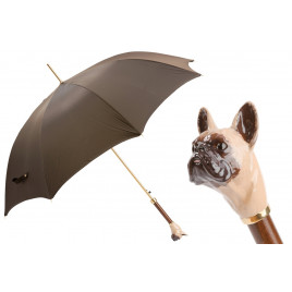 葩莎帝 棕色伞面 法斗犬手柄 手工伞 Pasotti Brown Luxury Umbrella with French Bulldog Handle